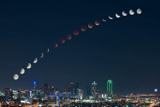Eclipse - Time Lapse over Dallas