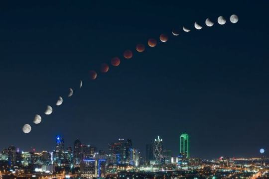 Eclipse - Time Lapse over Dallas